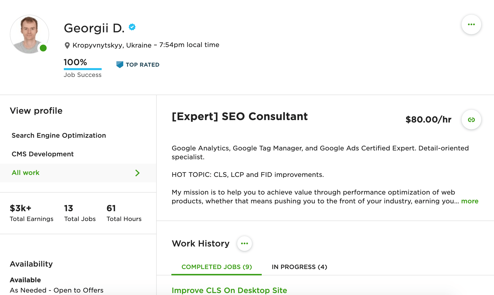seoGeorge on Upwork