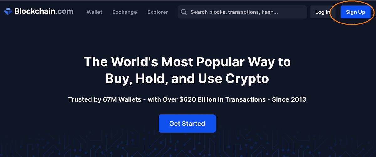 Sign Up button Blockchain