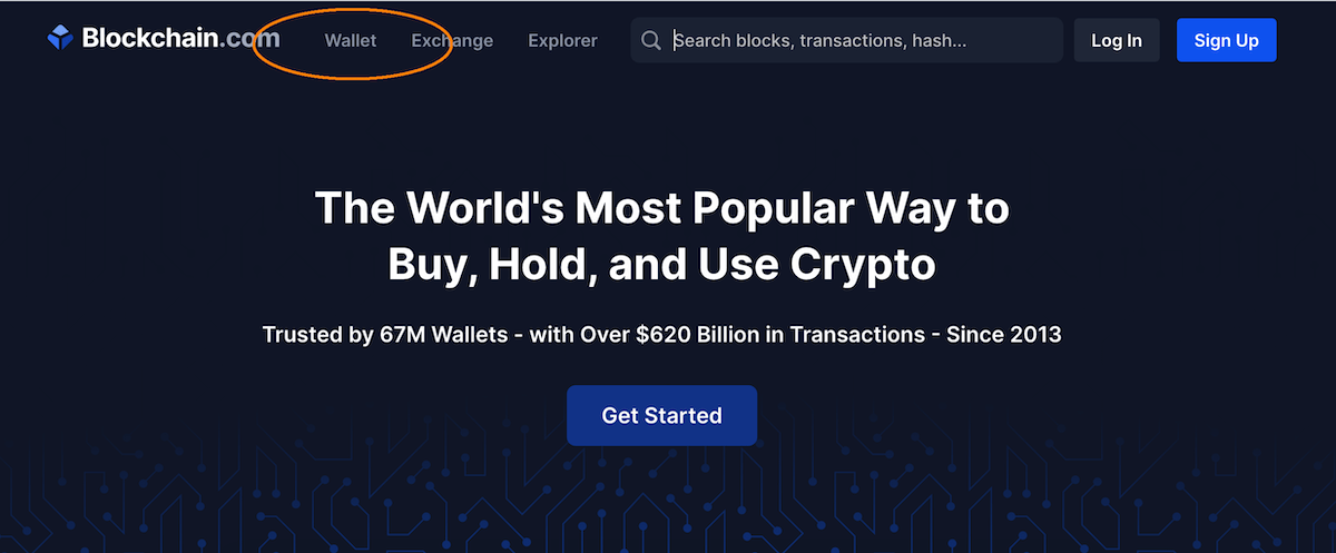 section Wallet on blockchain.com